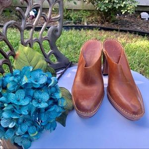 TOD'S Camel Color Heeled Clogs. Very well loved.